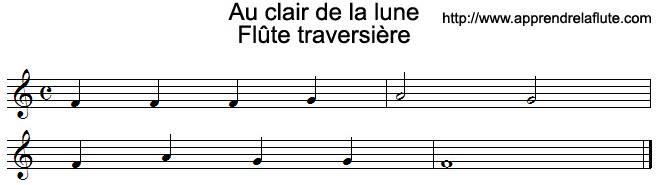Au clair de la lune à la flûte traversière (grave)