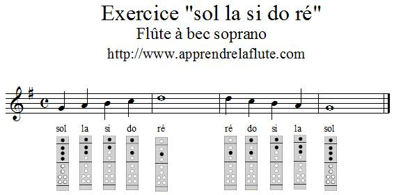exercice sol la si do ré à la flûte à bec