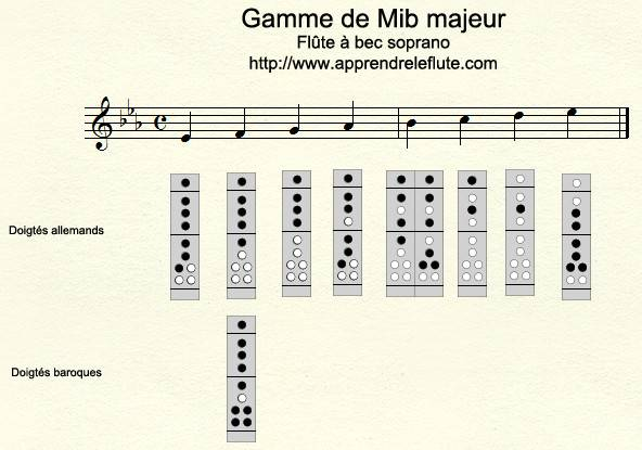 Gamme de Mib majeur à la flûte à bec