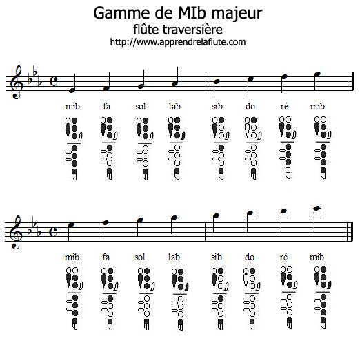 Gamme de mib majeur à la flûte traversière