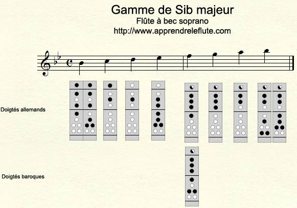 Gamme de Sib majeur à la flûte à bec