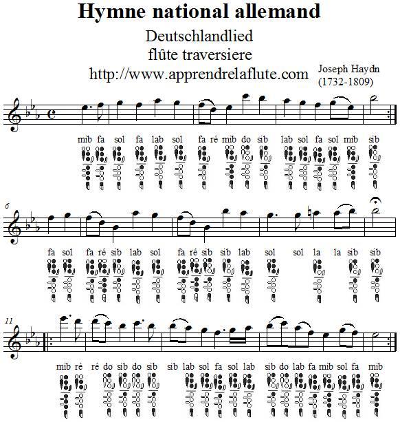 Hymne national allemand flûte traversière notes et doigtés