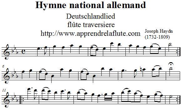 Hymne national allemand flûte traversière