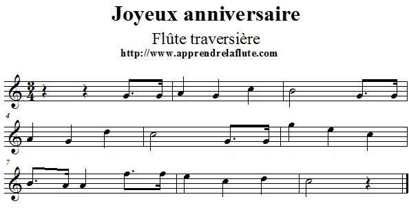 photo partition flute joyeux anniversaire gratuit