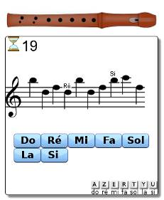 Jeu de lecture de note pour flûte à bec