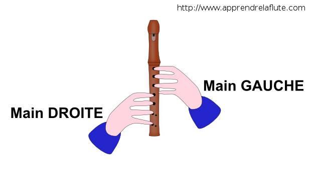 La position des mains à la flûte à bec